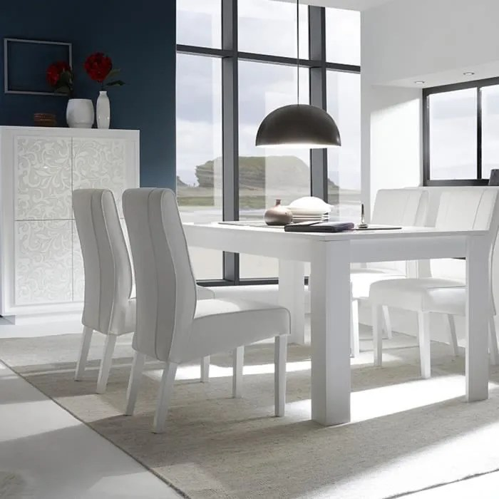 table a manger blanc laque mat design belladone l