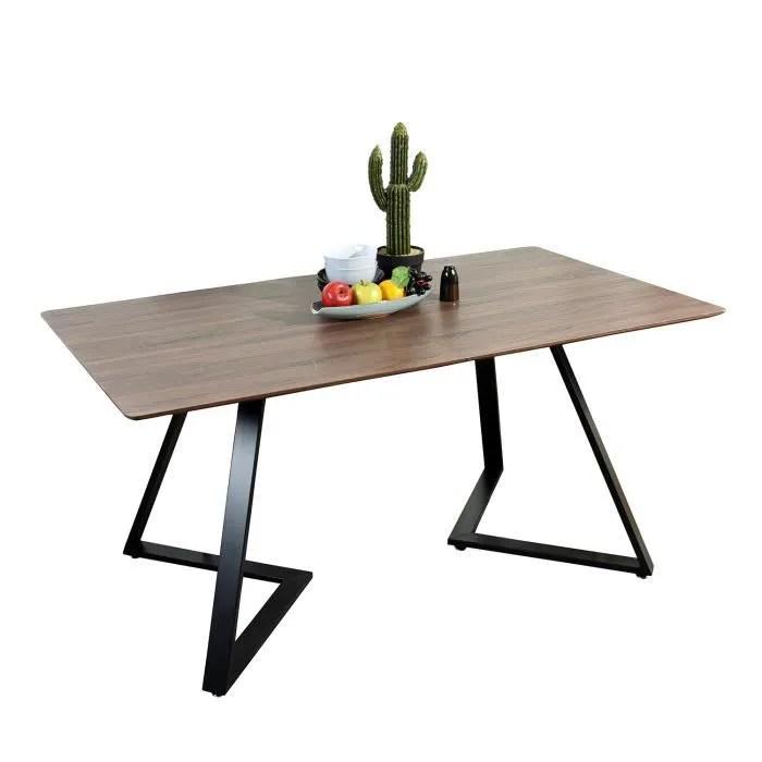 furnish1 table salle a manger style scandinave plateau en fibres de bois structure metallique 158x85x75cm