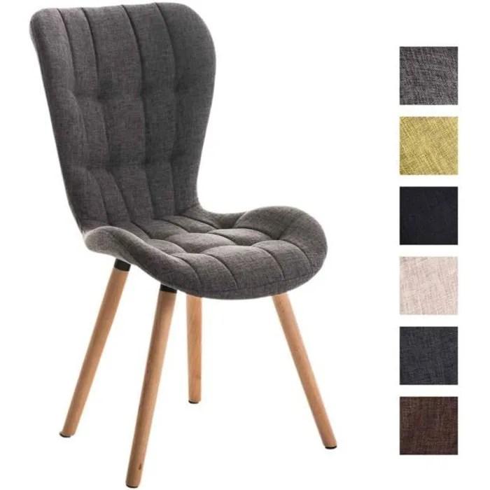 clp chaise salle a manger de salon elda dossier haut pietement en bois revetement en tissu avec coutures decoratives jusq