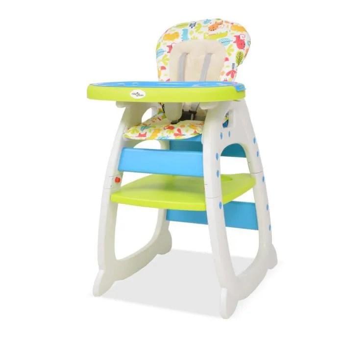 chaise haute convertible 3 en 1 avec table chaise bebe bleu et vert