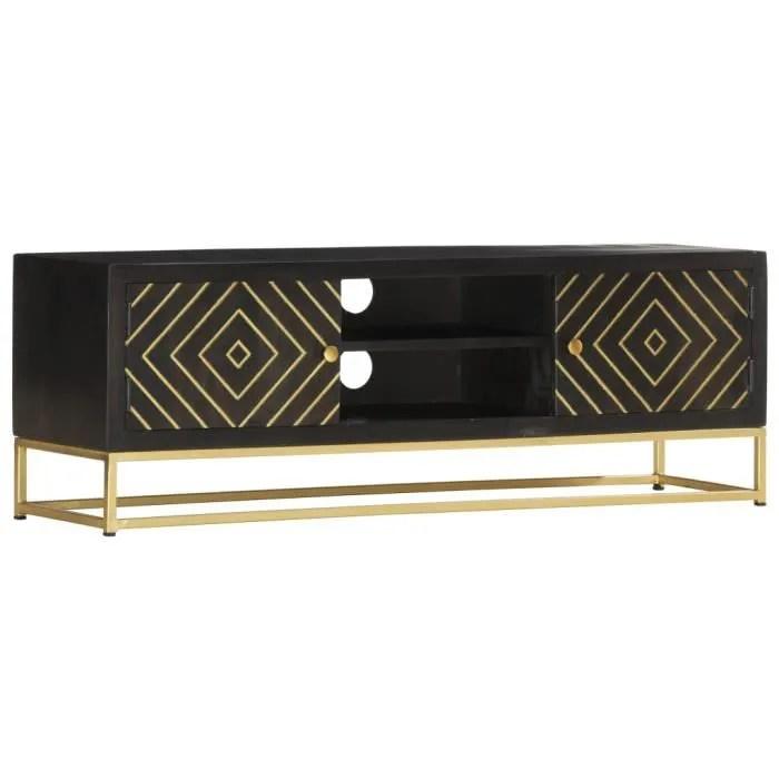 bel meuble tv noir et dore 120 x 30 x 40 cm bois m