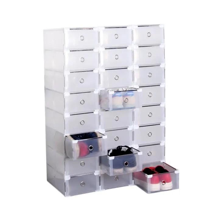 lot de 24 boites de rangement pliable avec tiroir pour chaussures