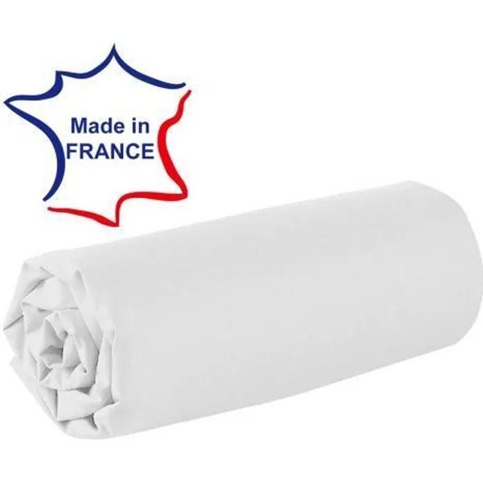 Drap Housse 120 X 190 Cm 100 Coton 57 Fils Made In France Blanc Cdiscount Maison