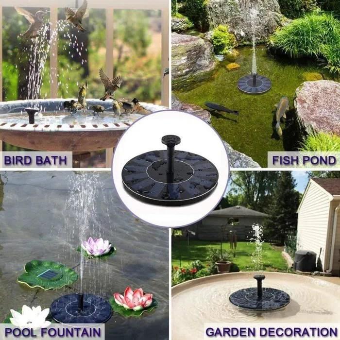 fontaine solaire de bassin avec 6