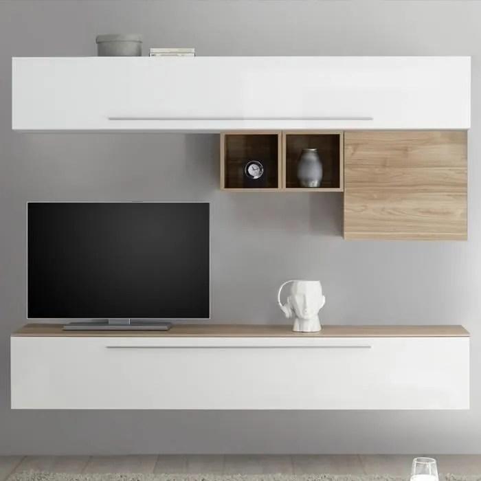 Mur Tv Blanc Et Couleur Bois Clair Isernia Blanc L 210 X P 35 X H 200 Cm Achat Vente Meuble Tv Mur Tv Blanc Et Couleur Bois Soldes