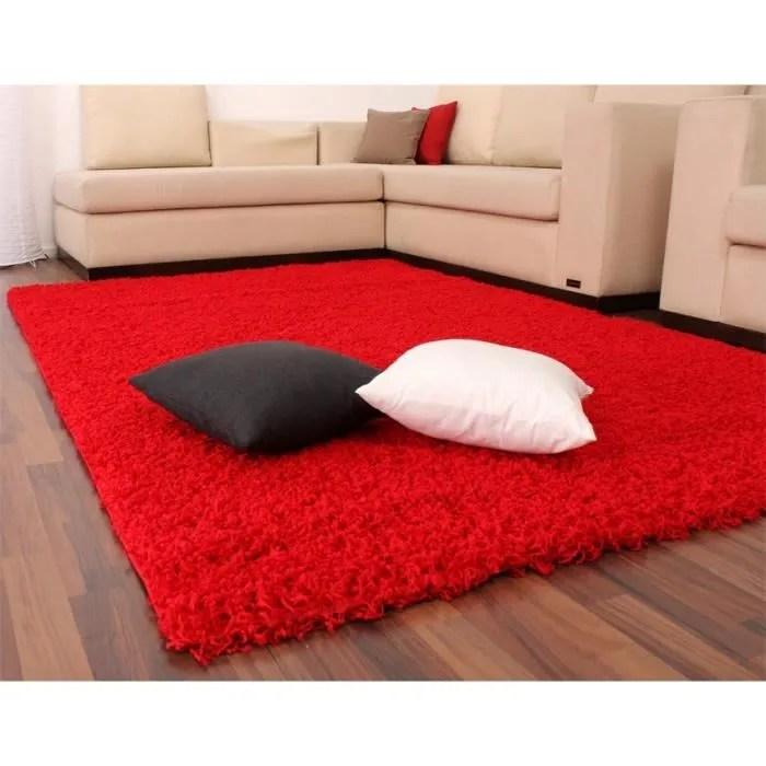 tapis shaggy longues meches en rouge 150 cm carre