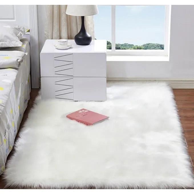 faux peau de mouton tapis poil long fourrure douc