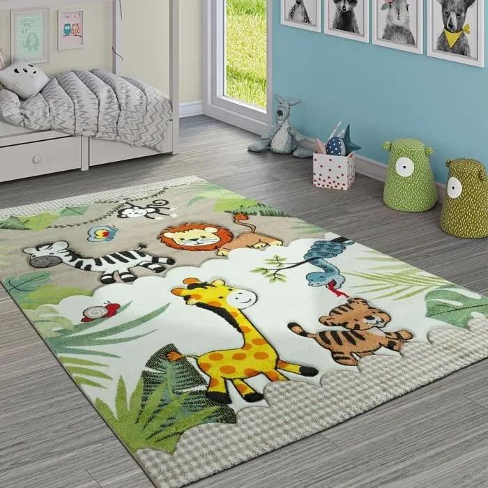 tapis pour enfant jungle animaux beige creme