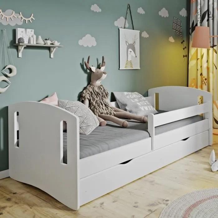 lit enfant avec barriere de securite mirret 180x80 cm blanc avec tiroir de rangement matelas inclus