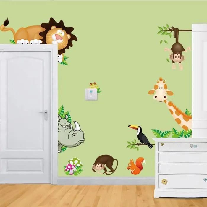 jungle animaux sauvages art stickers muraux enfants chambre nurseries stickers decor