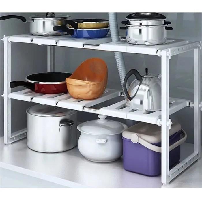 lot de 10 x etagere de rangement sous evier rack de stockage extensible organisateur rangement de cuisine maison gain de place