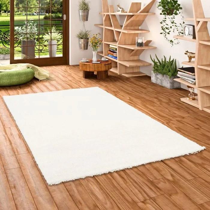 aloha tapis shaggy a poils longs blanc 200x20