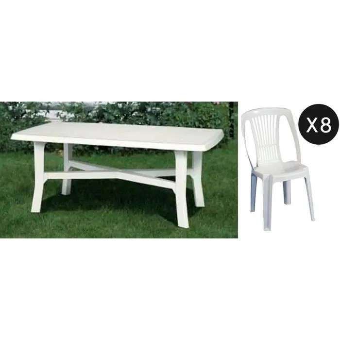 salon jardin en plastique blanc table