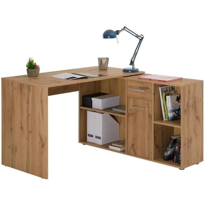 bureau d angle carmen table avec meuble de rangement integre et modulable avec 4 etageres 1 porte et 1 tiroir decor chene sauvage