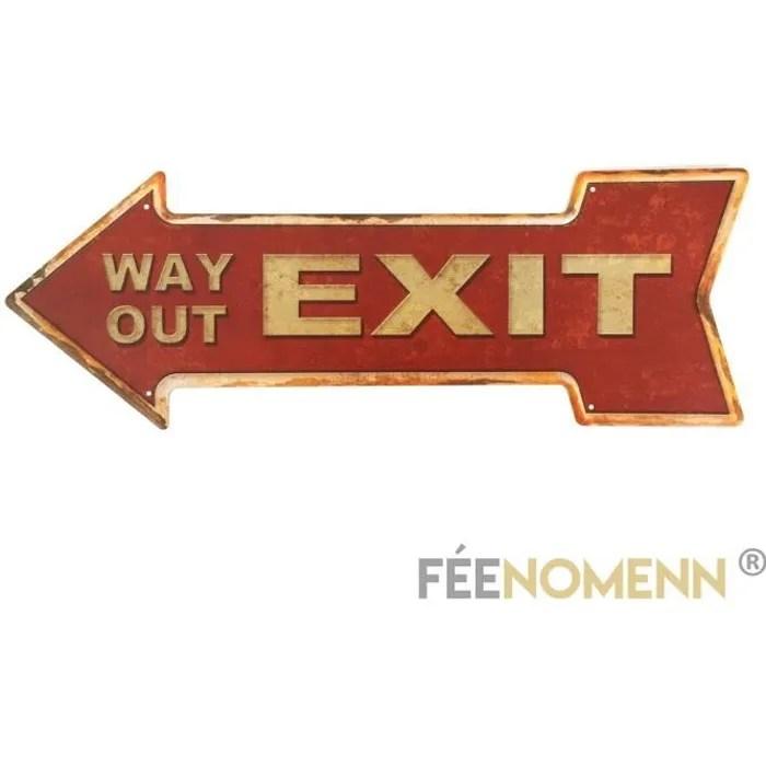 plaque metal deco vintage exit 16x45cm