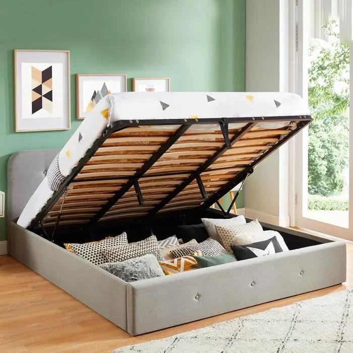 lit coffre 180x200 cm gris clair avec tete de lit sommier a lattes collection kate