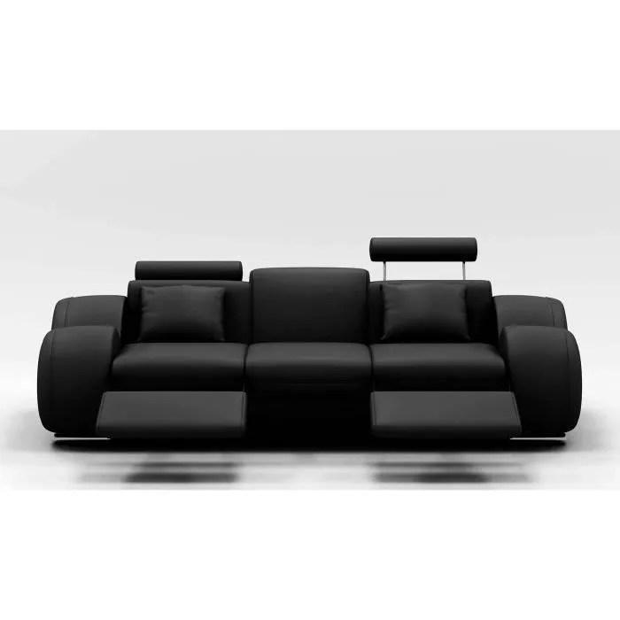 canape design 3 places cuir noir