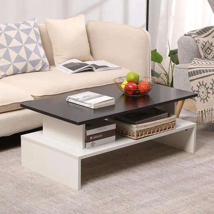 table basse style contemporain noir et blanc l 97 x l 51 cm