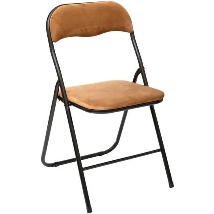 five chaise pliante confortable en metal et velours camel h 79 cm beige fonce