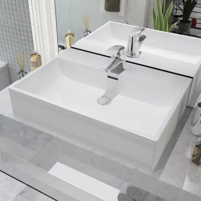 Luxueux Magnifique Vasque Avec Trou Vasque A Trou Vasque A Poser De Robinet En Ceramique Blanc 60 5x42 5x14 5cm Achat Vente Lavabo Vasque Luxueux Magnifique Vasque Cdiscount