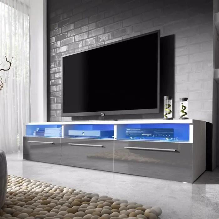 meuble tv meuble salon lavello 140 cm blanc mat gris brillant avec led bleue style moderne style classique