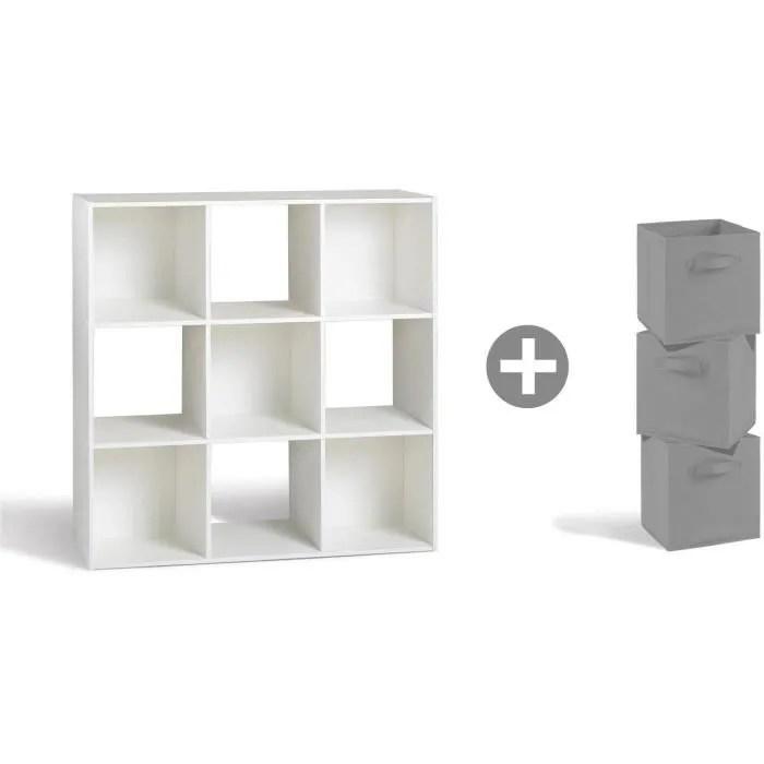 compo meuble en escalier contemporain 9 cases 3 tiroirs de rangement tissu gris l 92 et l 27 cm