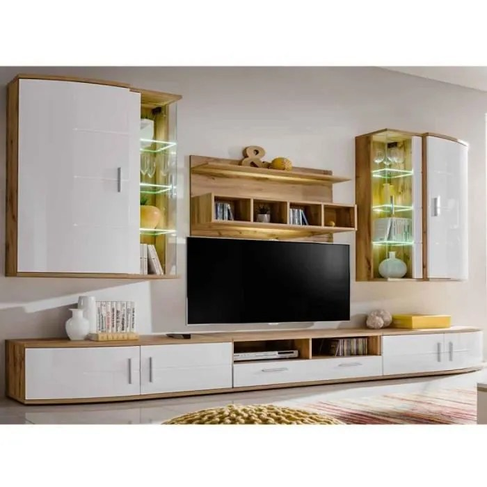 meuble tv mural design jelly blanc