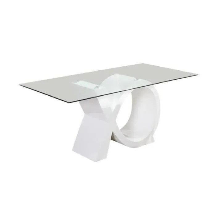 sharon table a manger 180x90cm laque blanc brillant
