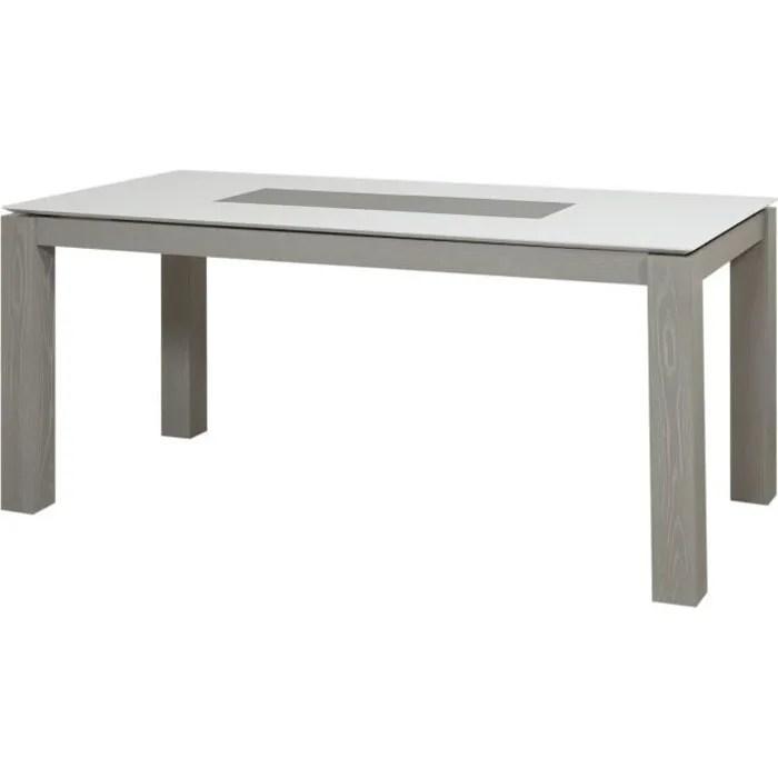 table a manger gris et blanc laque