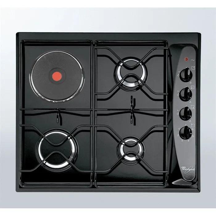 whirlpool akm261 noir table de cuisson mixte gaz electrique 4 foyers l58xp50cm revetement porcelaine email noir