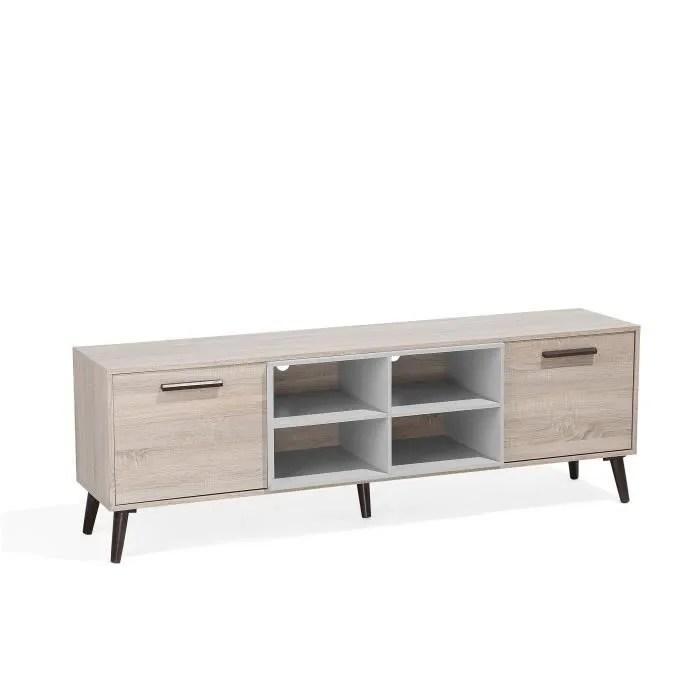 beliani meuble tv bois clair et gris alloa
