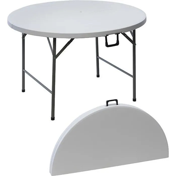table ronde de jardin en resine pliante 122 cm