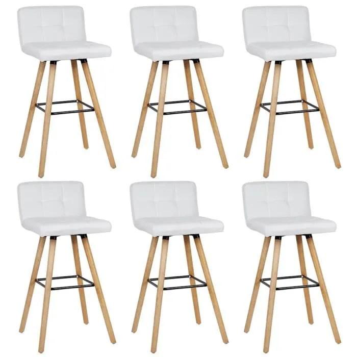 6 x chaise haute bar tabouret de bar scandinave bl
