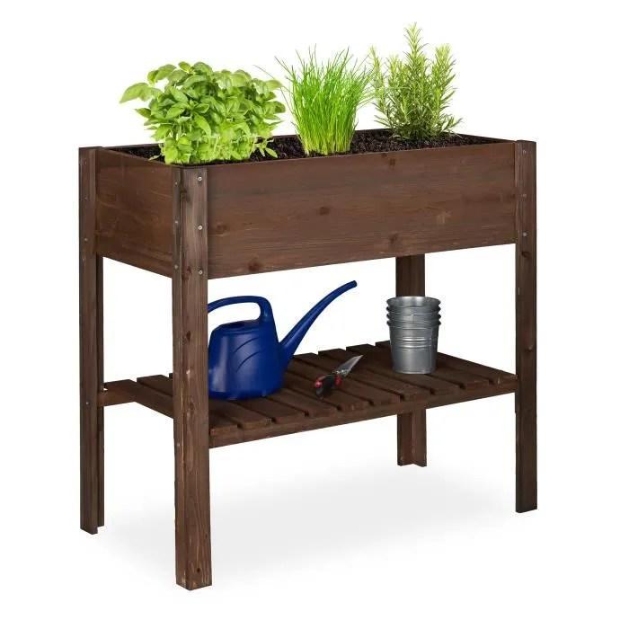 relaxdays carre potager bois legume herbes jardin balcon jardiniere sur pied hxlxp 80 x 88 x 43 5 cm brun fonce