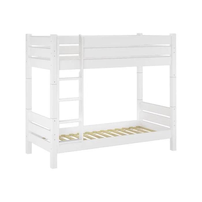 lit de superpose en bois pin massif blanc divisible in deux lits simple niche 100 cm hauteur 180 cm