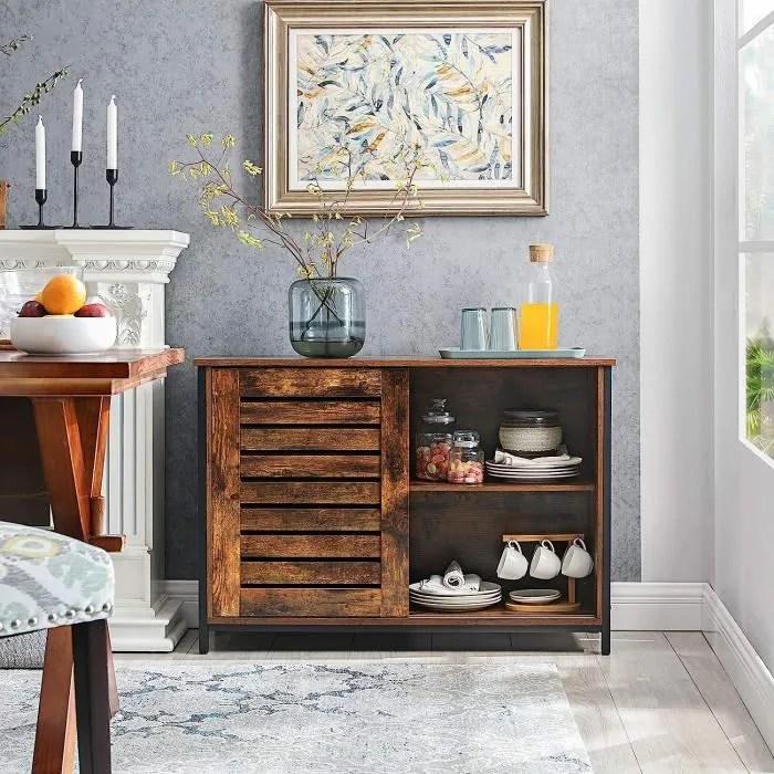 vasagle buffet de cuisine a portes coulissantes 100 x 35 x 70 cm cadre en acier style industriel meuble de rangement lsc081b01