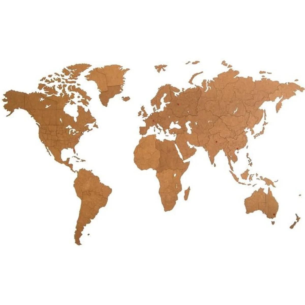 mimi innovations decoration murale geant carte du monde en bois 280x170 cm marron