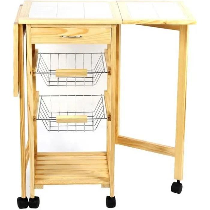 ag desserte de cuisine table rabattable roulante pliable avec 2 bacs 1 tiroir l 91 64 37 cm