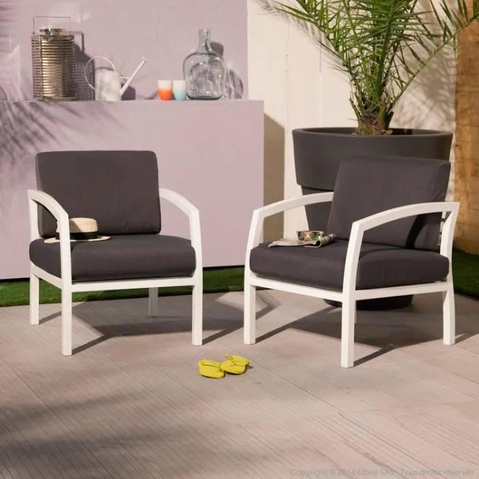 fauteuil bas de jardin en aluminium