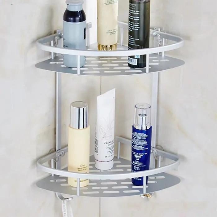set accessoires salle de bain aluminium durable 2 douche etagere d aspiration niveaux d angle etageres de douche 56