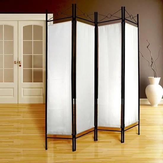 Paravent Interieur Pas Cher Blanc Separateur De Piece Elegant 180x160cm 4 Panneaux Cdiscount Maison