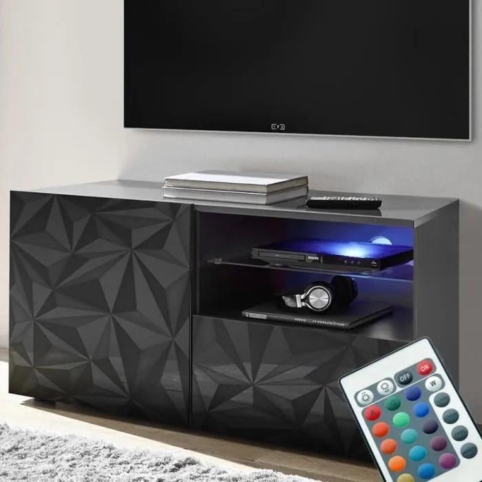 meuble tv lumineux 120 cm design gris laque paolo