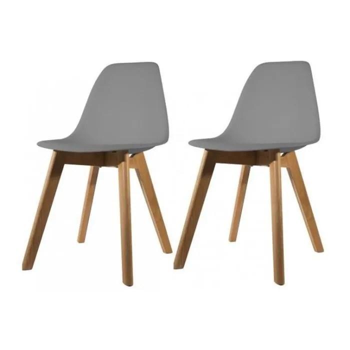 lot de 2 chaises scandinave coque grise fjord