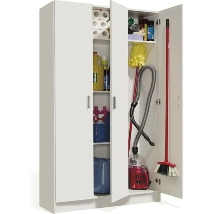 Armoire Rangement Nettoyage 3 Portes En Melamine Coloris Blanc Dim H180 X L108 8 X P37 Cm Cdiscount Maison