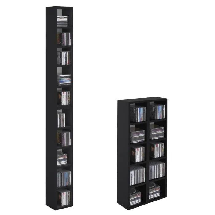 etageres modulables musique pour cd et dvd lot de 2 meubles de rangement en colonne avec 10 compartiments en melamine noir mat