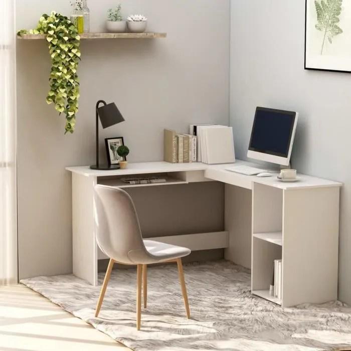 bureau d angle contemporain table d ordinateur modern meuble de bureau en forme de l blanc 120x140x75 cm agglomere
