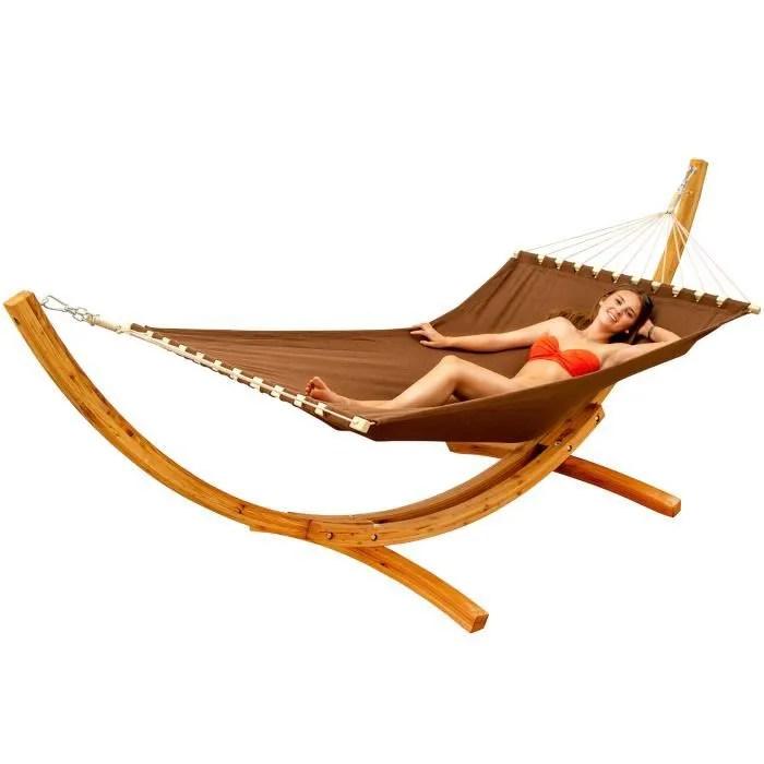 hamac xxl avec support en bois naturel chaise longue suspendue pour jardin