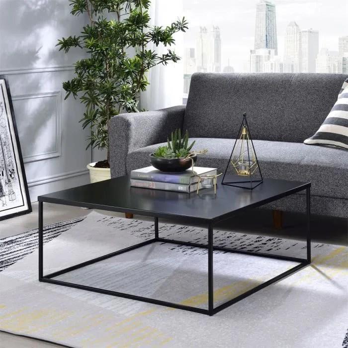 table basse hilar table de salon grande table d appoint design retro vintage industriel plateau carre en metal noir