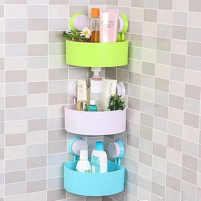mcsays etagere de rangement ventouse mural adhesif triangle accessoire salle de bain cuisine toilette vert