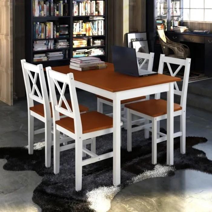 1 ensemble table en bois 4 chaises couleur marron ensemble de table et chaise set de 1 table et 4 chaises